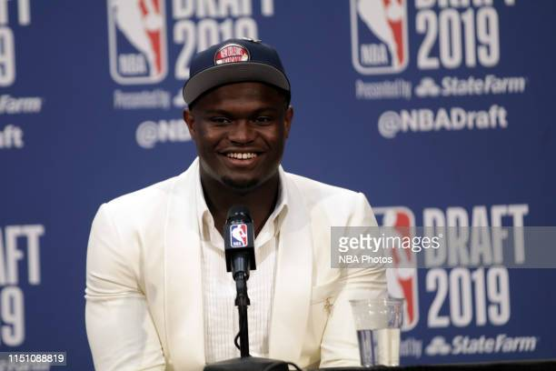 Zion Williamson is interviewed after being drafted by the New Orleans Pelicans during the 2019 NBA Draft on June 20, 2019 at the Barclays Center in...