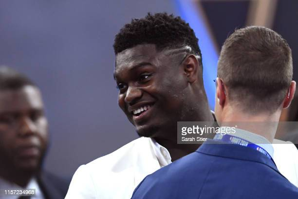 Zion Williamson looks on before the start of the 2019 NBA Draft at the Barclays Center on June 20, 2019 in the Brooklyn borough of New York City....