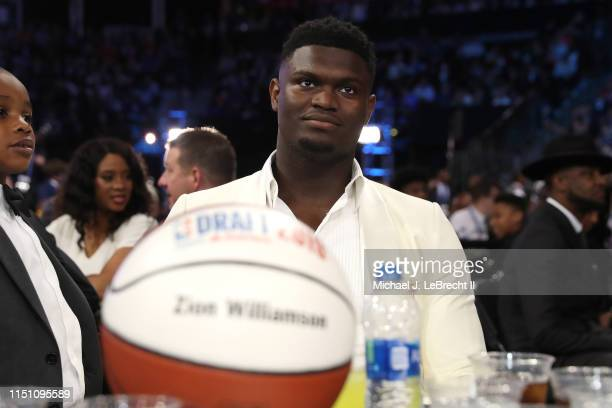 Zion Williamson looks on during the 2019 NBA Draft on June 20, 2019 at the Barclays Center in Brooklyn, New York. NOTE TO USER: User expressly...
