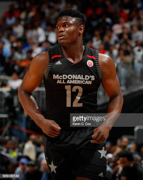 Zion Williamson of Spartanburg Day School walks on the court during the 2018 McDonald's All American Game at Philips Arena on March 28 2018 in...