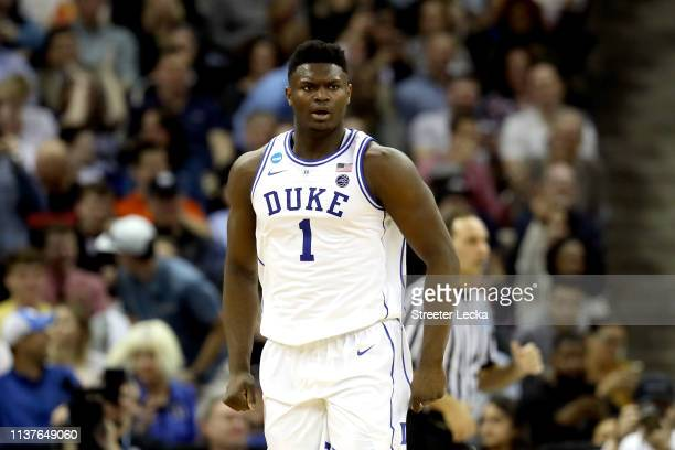 Zion Williamson of the Duke Blue Devils celebrates a dunk against the North Dakota State Bison in the second half during the first round of the 2019...
