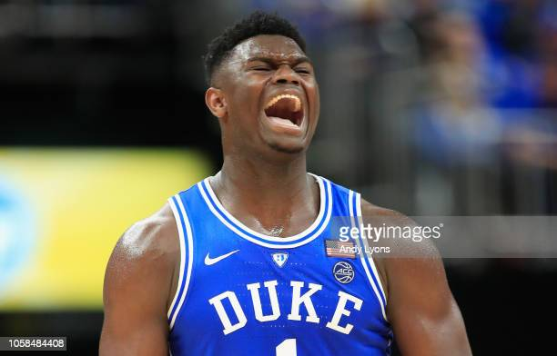 Zion Williamson of the Duke Blue Devils celebrates against the Kentucky Wildcats during the State Farm Champions Classic at Bankers Life Fieldhouse...