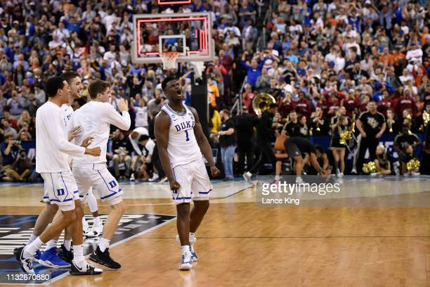 Zion Williamson of the Duke Blue Devils celebrates following their 7776 win against the Central Florida Knights during the second round of the 2019...