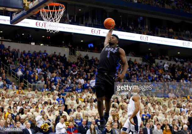 Zion Williamson of the Duke Blue Devils dunks against against the Pittsburgh Panthers at Petersen Events Center on January 22 2019 in Pittsburgh...