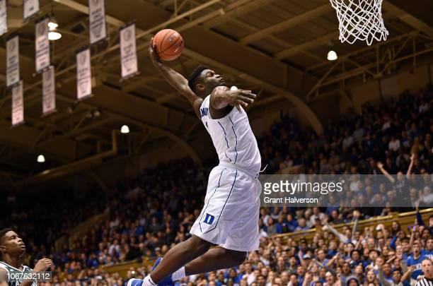 Zion Williamson of the Duke Blue Devils dunks against the Eastern Michigan Eagles during the first half of their game at Cameron Indoor Stadium on...