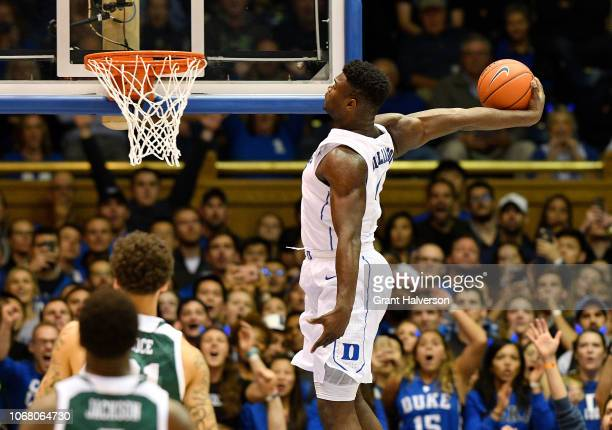 Zion Williamson of the Duke Blue Devils dunks against the Eastern Michigan Eagles during their game at Cameron Indoor Stadium on November 14 2018 in...