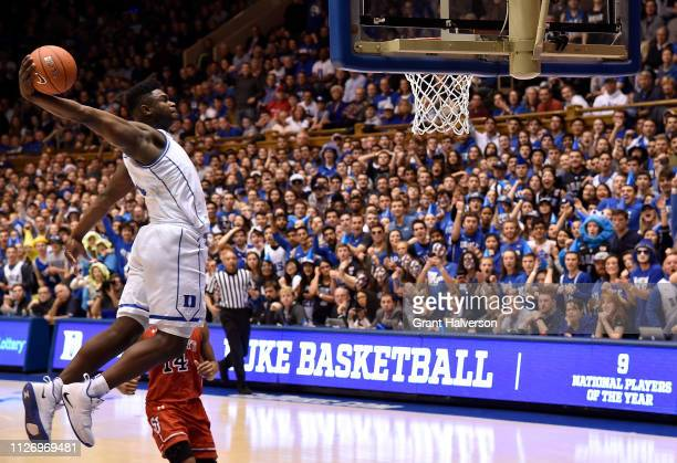 Zion Williamson of the Duke Blue Devils dunks during the first half of their game against the St. John's Red Storm at Cameron Indoor Stadium on...