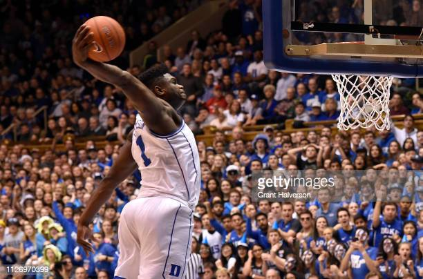 Zion Williamson of the Duke Blue Devils dunks during the first half of their game against the St John's Red Storm at Cameron Indoor Stadium on...