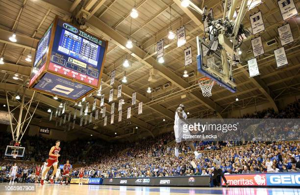 Zion Williamson of the Duke Blue Devils dunks the ball against the Indiana Hoosiers during their game at Cameron Indoor Stadium on November 27 2018...
