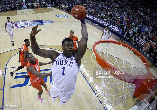 Zion Williamson of the Duke Blue Devils dunks the ball against the Syracuse Orange during their game in the quarterfinal round of the 2019 Men's ACC...