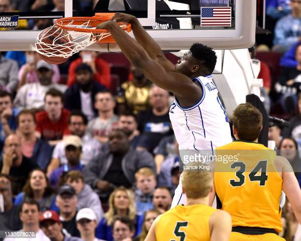 Zion Williamson of the Duke Blue Devils dunks the ball against the North Dakota State Bison in the first half during the first round of the 2019 NCAA...