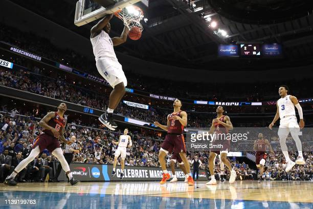 Zion Williamson of the Duke Blue Devils dunks the ball against the Virginia Tech Hokies during the second half in the East Regional game of the 2019...