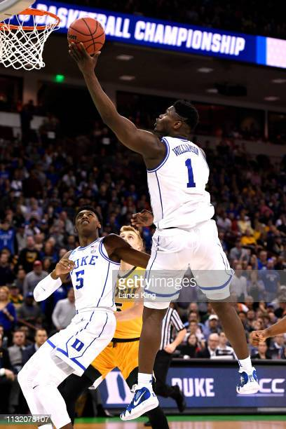 Zion Williamson of the Duke Blue Devils goes to the basket against the North Dakota State Bison in the second half during the first round of the 2019...