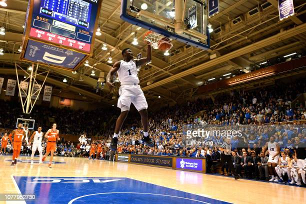 Zion Williamson of the Duke Blue Devils goes up for a 360-degree dunk against the Clemson Tigers in the second half at Cameron Indoor Stadium on...