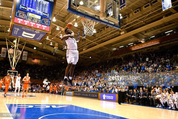 Zion Williamson of the Duke Blue Devils goes up for a 360degree dunk against the Clemson Tigers in the second half at Cameron Indoor Stadium on...