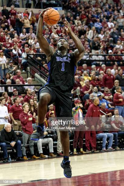 Zion Williamson of the Duke Blue Devils goes up for a basket during the game against the Florida State Seminoles at Donald L Tucker Center on January...