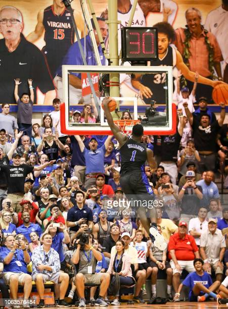 Zion Williamson of the Duke Blue Devils goes up for a dunk off the fast break during the second half of the game against the San Diego State Aztecs...