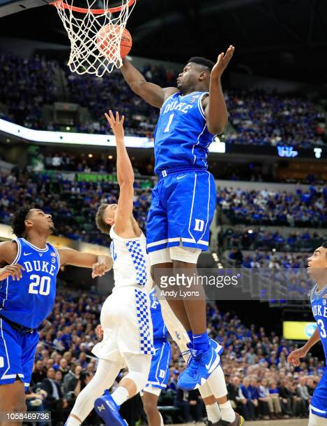 Zion Williamson of the Duke Blue Devils grabs a rebound against the kentucky Wildcats during the State Farm Champions Classic at Bankers Life...