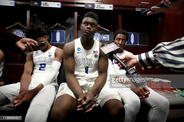 Zion Williamson of the Duke Blue Devils is interviewed in the locker room after his teams 6867 loss to the Michigan State Spartans in the East...