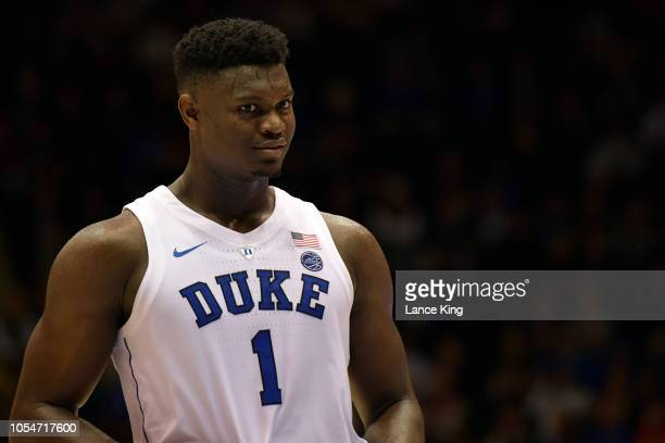 Zion Williamson of the Duke Blue Devils looks on during their game against the Ferris State Bulldogs at Cameron Indoor Stadium on October 27 2018 in...