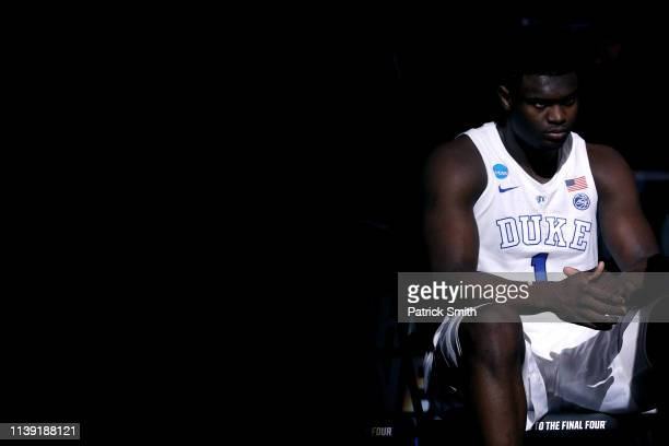 Zion Williamson of the Duke Blue Devils looks on prior to the start of the first half in the East Regional game against the Virginia Tech Hokies of...