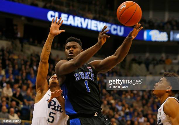 Zion Williamson of the Duke Blue Devils makes a pass against the Pittsburgh Panthers at Petersen Events Center on January 22 2019 in Pittsburgh...