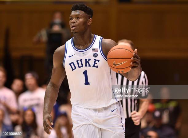 Zion Williamson of the Duke Blue Devils moves the ball against the Syracuse Orange during their game at Cameron Indoor Stadium on January 14 2019 in...