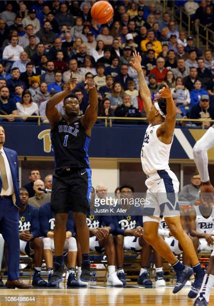 Zion Williamson of the Duke Blue Devils pulls up for a three against the Pittsburgh Panthers at Petersen Events Center on January 22 2019 in...