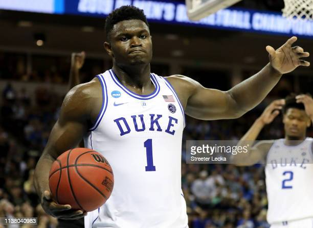 Zion Williamson of the Duke Blue Devils reacts after a basket against the UCF Knights during the second half in the second round game of the 2019...