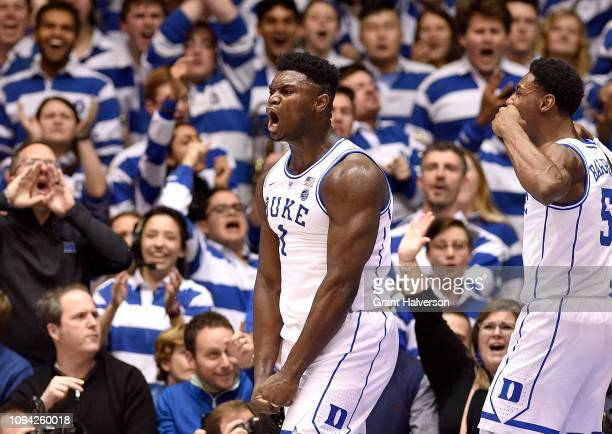 Zion Williamson of the Duke Blue Devils reacts after a dunk against the Syracuse Orange during the first half of their game at Cameron Indoor Stadium...