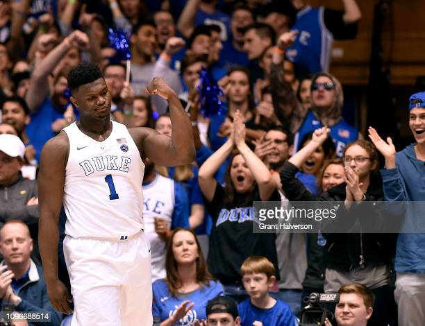Zion Williamson of the Duke Blue Devils reacts after a dunk against the Virginia Cavaliers during the first half of their game at Cameron Indoor...
