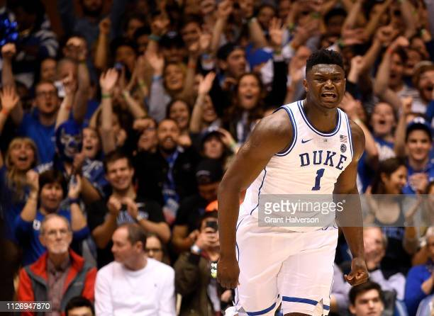Zion Williamson of the Duke Blue Devils reacts after a dunk against the St John's Red Storm during the first half of their game at Cameron Indoor...