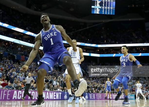 Zion Williamson of the Duke Blue Devils reacts after a dunk against the North Carolina Tar Heels during their game in the semifinals of the 2019...