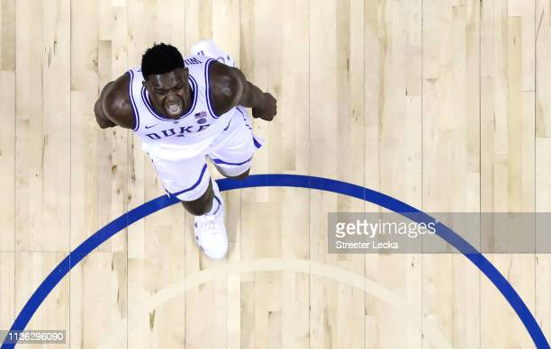 Zion Williamson of the Duke Blue Devils reacts after after a play on the way to defeating the Florida State Seminoles 73-63 in the championship game...