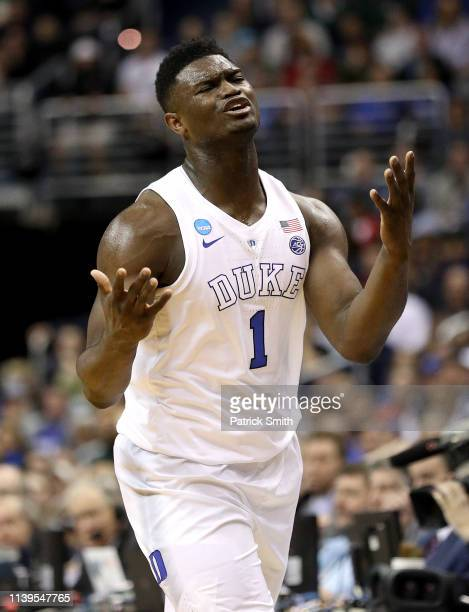 Zion Williamson of the Duke Blue Devils reacts after being called for a foul in the East Regional game of the 2019 NCAA Men's Basketball Tournament...