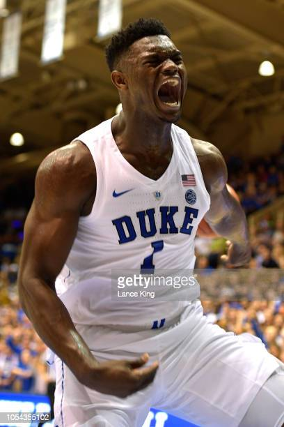 Zion Williamson of the Duke Blue Devils reacts after dunking the ball against the Ferris State Bulldogs at Cameron Indoor Stadium on October 27 2018...