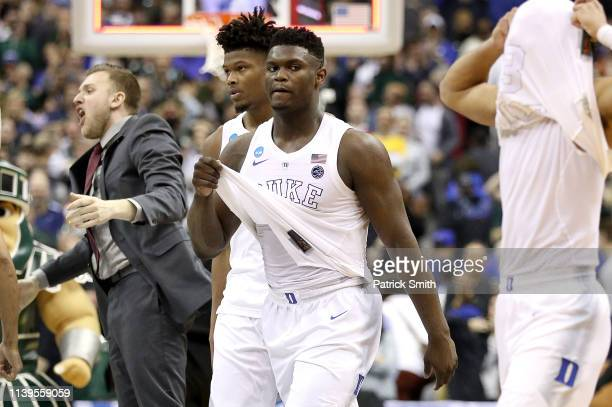 Zion Williamson of the Duke Blue Devils reacts after his teams 68-67 loss to the Michigan State Spartans in the East Regional game of the 2019 NCAA...