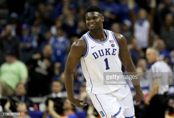 Zion Williamson of the Duke Blue Devils reacts against the Florida State Seminoles during the championship game of the 2019 Men's ACC Basketball...