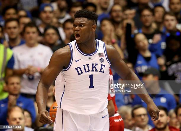 Zion Williamson of the Duke Blue Devils reacts against the Indiana Hoosiers during their game at Cameron Indoor Stadium on November 27 2018 in Durham...