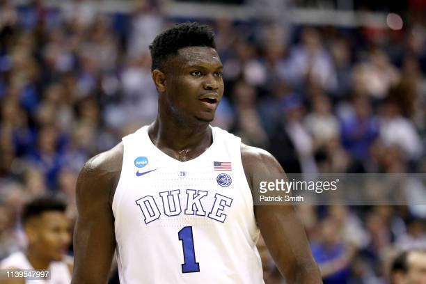 Zion Williamson of the Duke Blue Devils reacts against the Michigan State Spartans during the first half in the East Regional game of the 2019 NCAA...