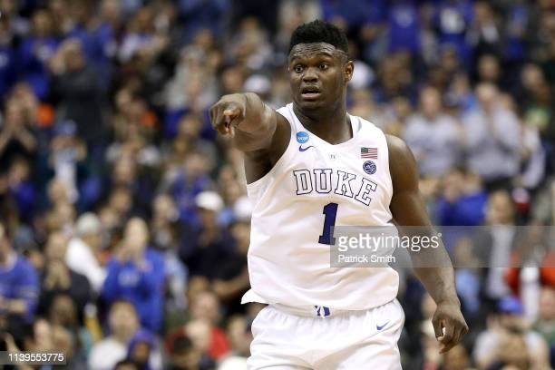 Zion Williamson of the Duke Blue Devils reacts against the Michigan State Spartans during the second half in the East Regional game of the 2019 NCAA...