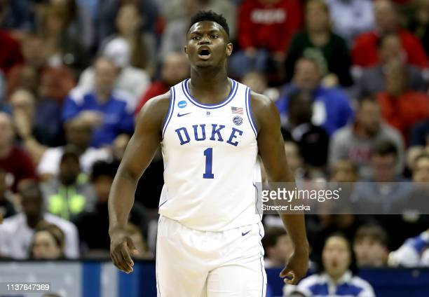Zion Williamson of the Duke Blue Devils reacts against the North Dakota State Bison in the first half during the first round of the 2019 NCAA Men's...