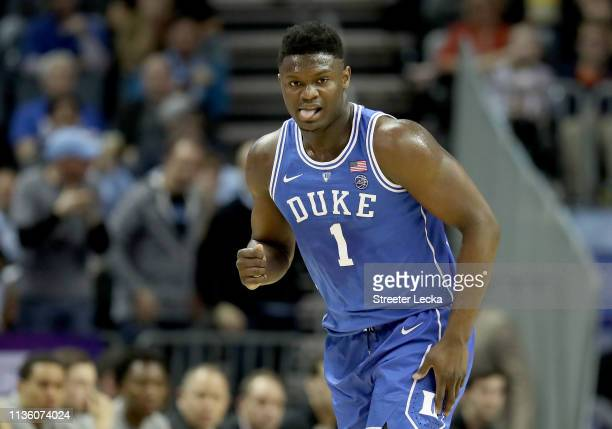 Zion Williamson of the Duke Blue Devils reacts against the North Carolina Tar Heels during their game in the semifinals of the 2019 Men's ACC...