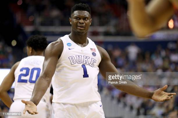 Zion Williamson of the Duke Blue Devils reacts against the Virginia Tech Hokies during the second half in the East Regional game of the 2019 NCAA...