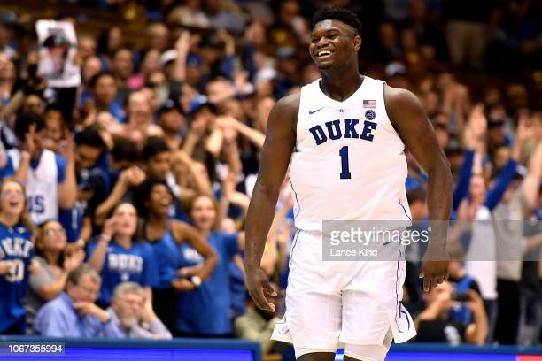 Zion Williamson of the Duke Blue Devils reacts during their game against the Stetson Hatters in the second half at Cameron Indoor Stadium on December...