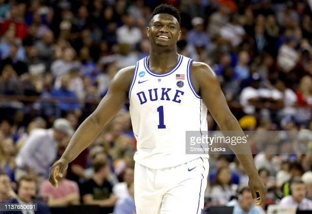 Zion Williamson of the Duke Blue Devils reacts to his teams lead against the North Dakota State Bison in the second half during the first round of...
