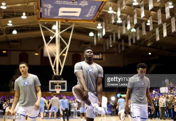 Zion Williamson of the Duke Blue Devils warms up before their game against the North Carolina Tar Heels at Cameron Indoor Stadium on February 20 2019...