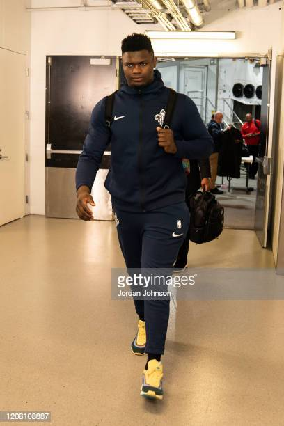Zion Williamson of the New Orleans Pelicans arrives to the game against the Minnesota Timberwolves on March 8 2020 at Target Center in Minneapolis...