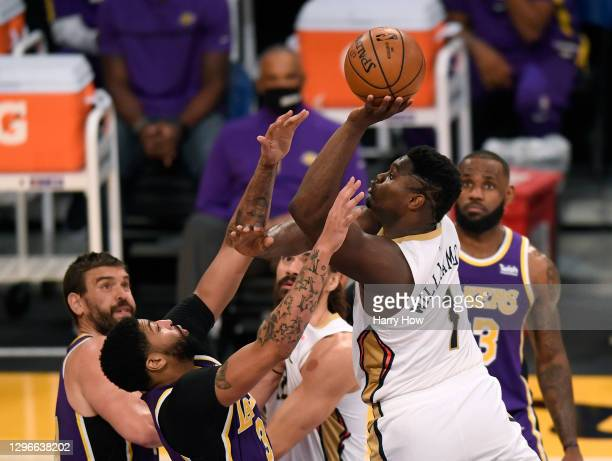 Zion Williamson of the New Orleans Pelicans attempts a shot in front of Anthony Davis of the Los Angeles Lakers during a 112-95 Los Angeles Lakers...