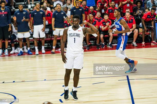 Zion Williamson of the New Orleans Pelicans celebrates after dunking the ball during a game against the New York Knicks at NBA Summer League on July...
